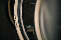 personalised tires for CX World Champion Wout van Aert (BEL/Crelan-Charles)<br /> <br /> Belgian National CX Championships / Koksijde 2018