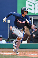 Cavan Biggio (6) of the New Hampshire Fisher Cats runs down the first base line during a game against the Hartford Yard Goats at Dunkin Donuts Park on April 8, 2018 in Hartford, Connecticut.<br /> (Gregory Vasil/Four Seam Images)