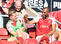 Fleetwood Town&rsquo;s Nathan Pond and Fleetwood Town&rsquo;s George Glendon <br /> <br /> Photographer Leila Coker/CameraSport<br /> <br /> The EFL Sky Bet League One - Fleetwood Town v Walsall - Saturday 5th May 2018 - Highbury Stadium - Fleetwood<br /> <br /> World Copyright &copy; 2018 CameraSport. All rights reserved. 43 Linden Ave. Countesthorpe. Leicester. England. LE8 5PG - Tel: +44 (0) 116 277 4147 - admin@camerasport.com - www.camerasport.com