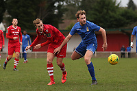 James Goode of Aveley and Ronnie Winn of Hornchurch during Hornchurch vs Aveley, Buildbase FA Trophy Football at Hornchurch Stadium on 11th January 2020