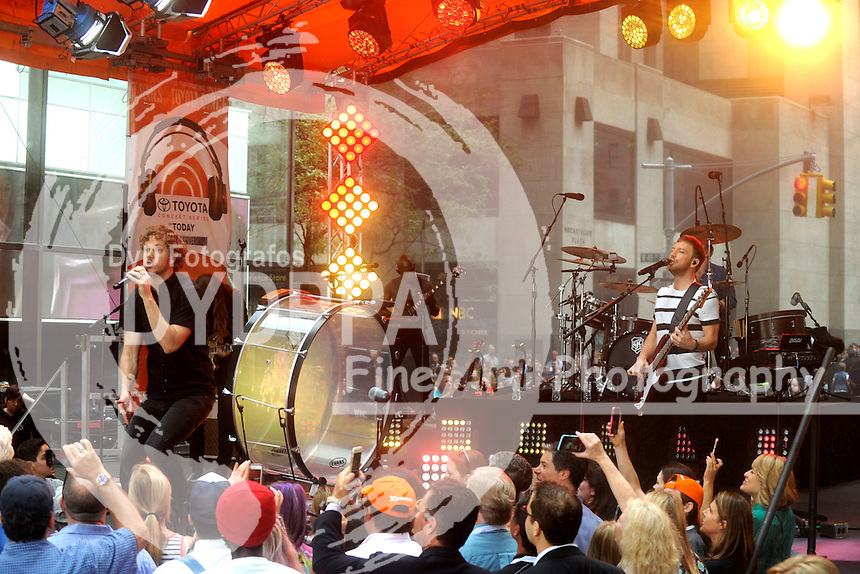 Dan Reynolds and Ben McKee of Imagine Dragons perform at NBC's 'Today Show' at Rockefeller Plaza on June 26, 2015 in New York City.