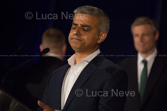 (From L to R) Paul Golding (Britain First), Sadiq Khan MP (Labour Party new Mayor of London) &amp; Zac Goldsmith MP (Conservative Party).<br />