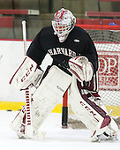 Peter Traber (Harvard - 32) - The Harvard University Crimson practiced on Friday, October 22, 2013, at Bright-Landry Hockey Center in Cambridge, Massachusetts.