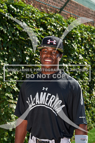 Outfielder Monte Harrison (5) Lee's Summit West High School in Lee's Summit, Missouri during the Under Armour All-American Game on August 24, 2013 at Wrigley Field in Chicago, Illinois.  (Mike Janes/Four Seam Images)