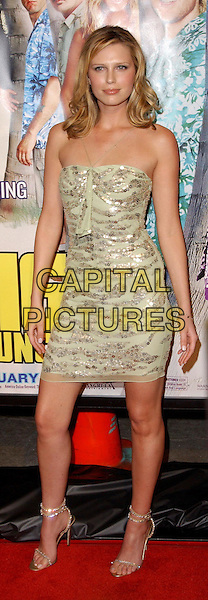 SARA FOSTER.The Big Bounce world premiere held at The Mann Village Theatre in Westwood, California.29 January 2004        .*UK Sales Only*            .full length, full-length, green dress, silver strappy sandals, sequins                                             .www.capitalpictures.com.sales@capitalpictures.com.©Capital Pictures.