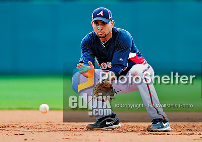 13 March 2010: Atlanta Braves' infielder Omar Infante warms up prior to a Spring Training game against the Toronto Blue Jays at Champion Stadium in the ESPN Wide World of Sports Complex in Orlando, Florida. The Blue Jays shut out the Braves 3-0 in Grapefruit League action. Mandatory Credit: Ed Wolfstein Photo
