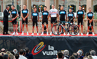 Team Sky during the official presentation of La Vuelta 2012. Christopher Froome, Juan Antonio Flecha, Sergio Luis Henao Montoya, Danny Pate, Richie Porte, Ian Stannard, Ben Swift, Rigoberto Uran and Xabier Zandio.August 17,2012. (ALTERPHOTOS/Alfaqui/Paola Otero) /NortePhoto.com<br />