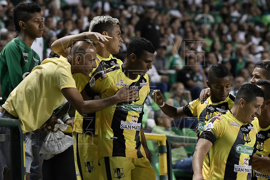 PALMIRA - COLOMBIA, 17-09-2019: Estefano Arango de Alianza celebra después de anotar el primer gol de su equipo durante partido entre Deportivo Cali y Alianza Petrolera por la fecha 11 de la Liga Águila II 2019 jugado en el estadio Deportivo Cali de la ciudad de Palmira. / Estefano Arango player of Alianza celebrates after scoring the first goal of his team during match between Deportivo Cali and Alianza Petrolera for the date 11 as part Aguila League II 2019 played at Deportivo Cali stadium in Palmira city . Photo: VizzorImage / Gabriel Aponte / Staff