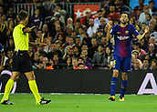 9th September 2017, Camp Nou, Barcelona, Spain; La Liga football, Barcelona versus Espanyol; Busquets argues with the referee