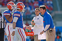 January 02, 2012:    Florida Gators head coach Will Muschamp yells at quarterback John Brantley (12) during first half action at the 2012 Taxslayer.com Gator Bowl between the Florida Gators and the Ohio State Buckeyes at EverBank Field in Jacksonville, Florida.