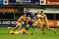 Matthew Morgan of Cardiff Blues is tackled by Nico Lee of Toyota Cheetahs during the Guinness Pro14 Round 5 match between Cardiff Blues and Toyota Cheetahs at the Cardiff Arms Park Stadium in Cardiff, Wales, UK. Friday 28 September 2018