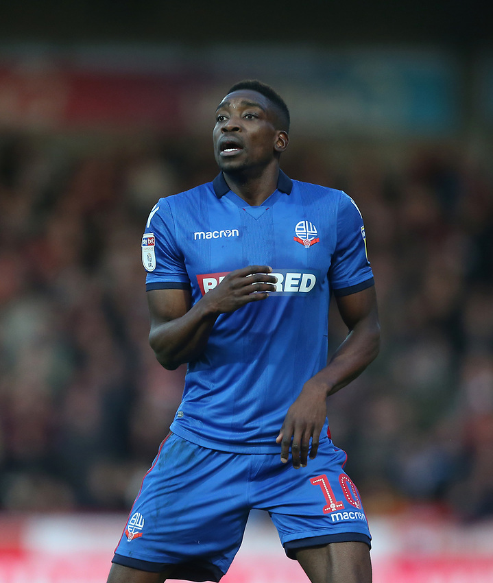 Bolton Wanderers' Sammy Ameobi<br /> <br /> Photographer Rob Newell/CameraSport<br /> <br /> The EFL Sky Bet Championship - Brentford v Bolton Wanderers - Saturday 22nd December 2018 - Griffin Park - Brentford<br /> <br /> World Copyright © 2018 CameraSport. All rights reserved. 43 Linden Ave. Countesthorpe. Leicester. England. LE8 5PG - Tel: +44 (0) 116 277 4147 - admin@camerasport.com - www.camerasport.com