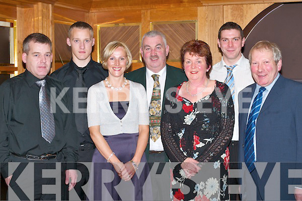 Award winners with their families at the Legion GAA social in the Killarney Heights Hotel Killarney on New Years Eve l-r Tom Moriarty, Mark Moriarty (2006 Young player of the Year), Louise Moriarty, Sean Sullivan, chairman, Sheila ONeill, Kieran ONeill (2006 Player of the Year) and Seamus ONeill.