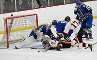 Verona's Parker Ploc (17) shoots for the net, as Madison West takes on Verona in Wisconsin Big Eight conference boys high school hockey on Friday, 1/3/20 at the Verona Ice Arena