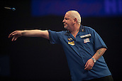 01.01.2014.  London, England.  William Hill PDC World Darts Championship.  Quarter Final Round.  Robert Thornton (9) [SCO] in action during his game with Michael van Gerwen (1) [NED].