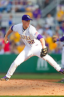Closer Matt Ott #22 of the LSU Tigers in action against the Wake Forest Demon Deacons at Alex Box Stadium on February 19, 2011 in Baton Rouge, Louisiana.  The Tigers defeated the Demon Deacons 4-3.  Photo by Brian Westerholt / Four Seam Images