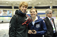 SPEED SKATING: CALGARY: Olympic Oval, 08-03-2015, ISU World Championships Allround, Jorrit Bergsma, Heather Richardson, ©foto Martin de Jong