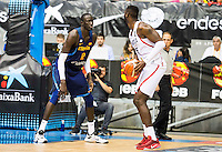 Spain's basketball player Ilimane Diop and Angola's basketball player Valdelicio Joaquim during the first match of the preparation for the Rio Olympic Game at Coliseum Burgos. July 12, 2016. (ALTERPHOTOS/BorjaB.Hojas)