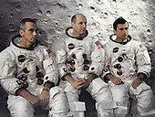 Kennedy Space Center, FL - April 3, 1969 -- The prime crew of the Apollo 10 lunar orbit mission at the Kennedy Space Center. They are from left to right: Lunar Module pilot, Eugene A. Cernan, Commander, Thomas P. Stafford, and Command Module pilot John W. Young. .Credit: NASA via CNP
