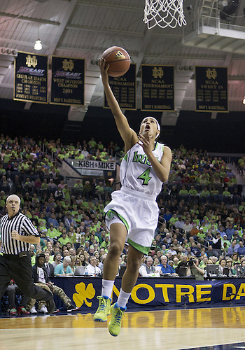 December 05, 2012:  Notre Dame guard Skylar Diggins (4) goes up for a shot during NCAA Women's Basketball game action between the Notre Dame Fighting Irish and the Baylor Bears at Purcell Pavilion at the Joyce Center in South Bend, Indiana.  Baylor defeated Notre Dame 73-61.