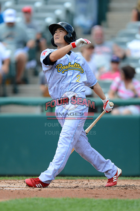 Reading Fightin Phils shortstop Troy Hanzawa #2 during a game against the Trenton Thunder on July 8, 2013 at Arm & Hammer Park in Trenton, New Jersey.  Trenton defeated Reading 10-6.  (Mike Janes/Four Seam Images)