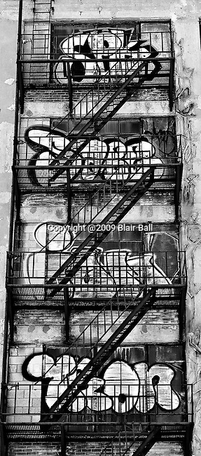 Graffiti on stairway of building in downtown Memphis, Tennessee.