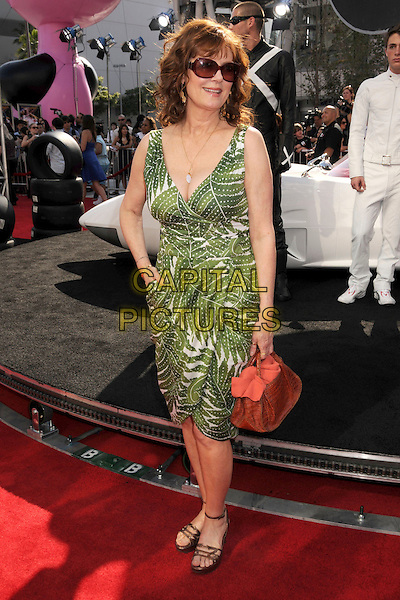 "SUSAN SARANDON .""Speed Racer"" Los Angeles Premiere at the Nokia Theatre, Los Angeles, California, USA, 26 April 2008..full length green and white print dress sunglasses brown bag hand on hip sandals shoes .CAP/ADM/BP.©Byron Purvis/Admedia/Capital PIctures"