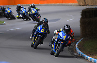 Zak Fuller (Hamilton) leads Jesse Stroud (Hamilton) in the Suzuki Gixxer Cup. The 2018 Suzuki series Cemetery Circuit motorcycle racing at Cooks Gardens in Wanganui, New Zealand on Wednesday, 28 December 2018. Photo: Dave Lintott / lintottphoto.co.nz