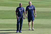 Essex head coach Anthony McGrath (R) and Dimitri Mascarenhas look on during Kent Spitfires vs Essex Eagles, Vitality Blast T20 Cricket at the St Lawrence Ground on 2nd August 2018