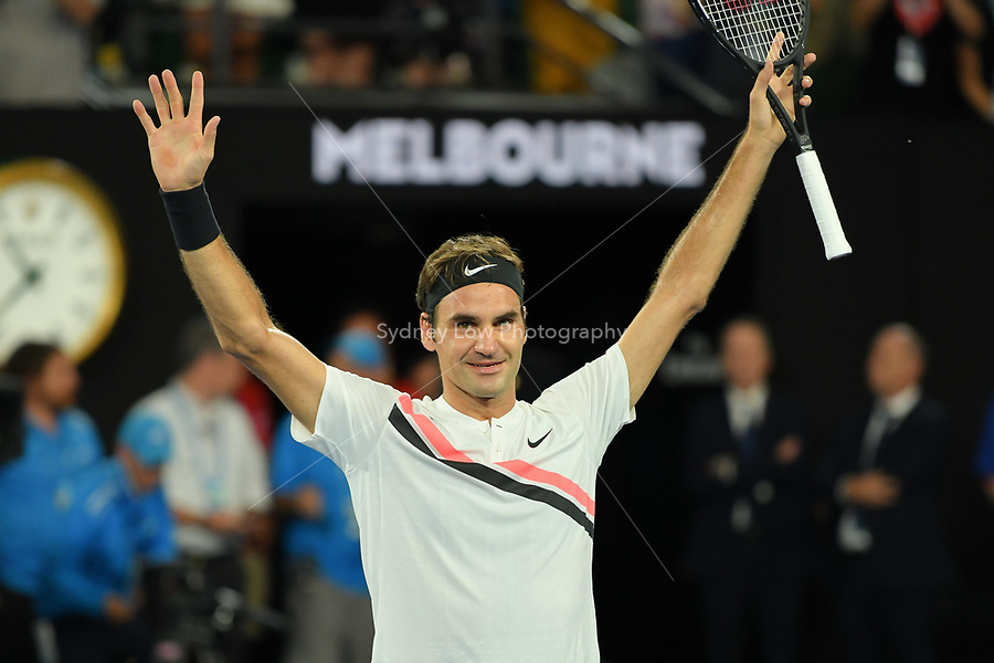 January 28, 2018: Number two seed Roger Federer of Switzerland celebrates after winning the Men's Final against number six seed Marin Cilic of Croatia on day fourteen of the 2018 Australian Open Grand Slam tennis tournament in Melbourne, Australia. Federer won 3 sets to 2. Photo Sydney Low