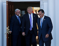 Mitt Romney leaves after meeting with United States President-elect Donald Trump and Vice President-elect Mike Pence at the clubhouse at Trump International Golf Club, November 19, 2016 in Bedminster Township, New Jersey. <br /> Credit: Aude Guerrucci / Pool via CNP /MediaPunch