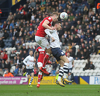 Preston North End's Alan Browne jumps with Bristol City's Adam Webster<br /> <br /> Photographer Mick Walker/CameraSport<br /> <br /> The EFL Sky Bet Championship - Preston North End v Bristol City - Saturday 2nd March 2019 - Deepdale Stadium - Preston<br /> <br /> World Copyright © 2019 CameraSport. All rights reserved. 43 Linden Ave. Countesthorpe. Leicester. England. LE8 5PG - Tel: +44 (0) 116 277 4147 - admin@camerasport.com - www.camerasport.com