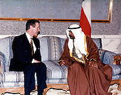 United States Secretary of Defense William S. Cohen (left) meets with His Highness Crown Prince Shaykh, Saad Al-Abdullah Al Sabah (right), of the State of Kuwait ay Bayan Palace, Kuwait City, Kuwait on February 9, 1998.<br /> Mandatory Credit: Helene C. Stikkel / DoD via CNP