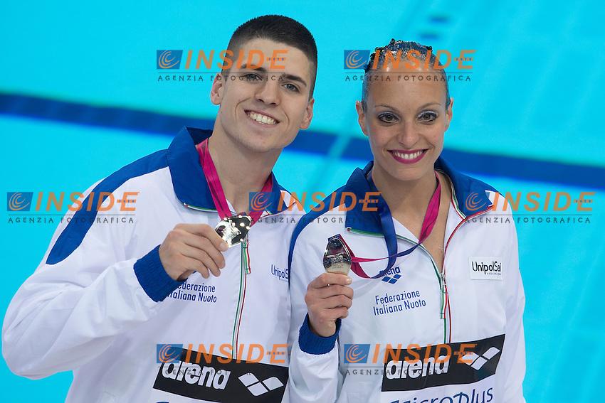 Giorgio MINISINI Mariangela PERRUPATO ITA ITALY<br /> Silver Medal <br /> Mixed Duet Free Final <br /> London, Queen Elizabeth II Olympic Park Pool <br /> LEN 2016 European Aquatics Elite Championships <br /> Synchronized Swimming <br /> Day 03 11-05-2016<br /> Photo Andrea Staccioli/Deepbluemedia/Insidefoto