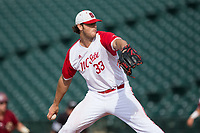 North Carolina State Wolfpack starting pitcher Johnny Piedmonte (33) delivers a pitch to the plate against the Boston College Eagles in Game Two of the 2017 ACC Baseball Championship at Louisville Slugger Field on May 23, 2017 in Louisville, Kentucky.  The Wolfpack defeated the Eagles 6-1. (Brian Westerholt/Four Seam Images)