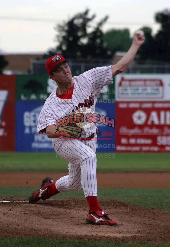 July 23, 2003:  pitcher Kyle Parcus of the Batavia Muckdogs during a game at Dwyer Stadium in Batavia, New York.  Photo by:  Mike Janes/Four Seam Images