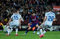 2nd February 2020; Camp Nou, Barcelona, Catalonia, Spain; La Liga Football, Barcelona versus Levante; Lionel Messi of FC Barcelona takes on Postiga and Miramon of Levante