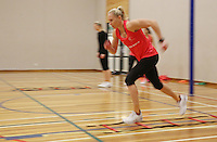 29.08.2016 Silver Ferns Laura Langman train and have a weights workout in Hamilton. Mandatory Photo Credit ©Michael Bradley.