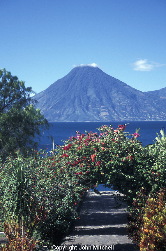 Path leading to Lake Atitlan, Guatemala. Volcan San Pedro rises in the background.