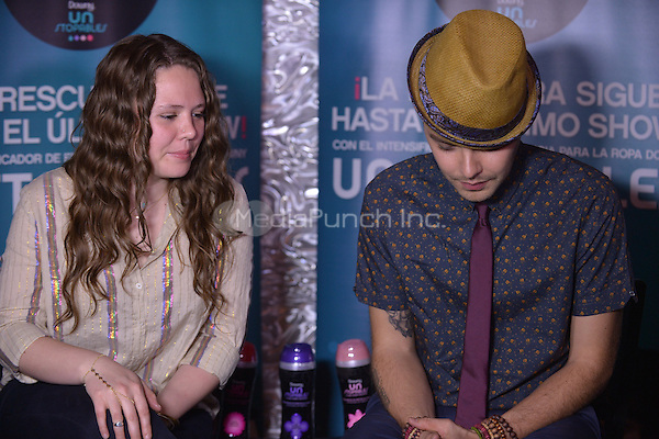 FORT LAUDERDALE, FL - JUNE 09: Joy Huerta and Jesse Huerta of brother/sister Pop Singer duo Jesse & Joy backstage as part of their Latinos Imparables Tour at Revolution Live on June 9, 2013 in Fort Lauderdale, Florida. © MPI10/MediaPunch Inc