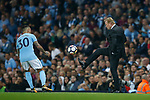 Ronald Koeman manager of Everton controls the ball back to Nicolas Otamendi of Manchester City during the Premier League match at the Eithad Stadium, Manchester. Picture date 21st August 2017. Picture credit should read: Simon Bellis/Sportimage
