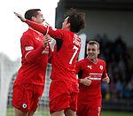 Calum Elliot celebrates his goal for Raith Rovers with team mate Joe Cardle