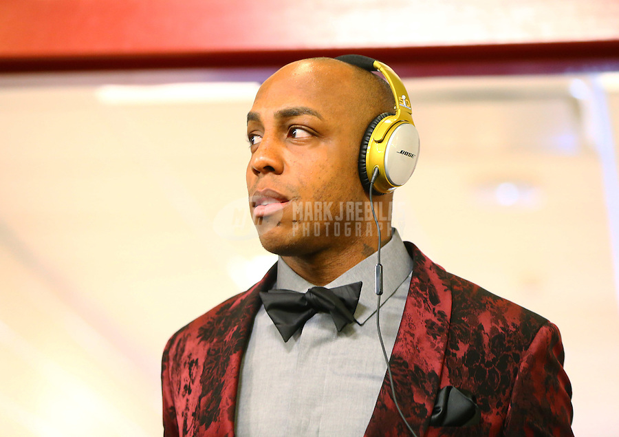 Feb 7, 2016; Santa Clara, CA, USA; Denver Broncos wide receiver Andre Caldwell wears a suit and bow tie as he arrives prior to the game against the Carolina Panthers in Super Bowl 50 at Levi's Stadium. Mandatory Credit: Mark J. Rebilas-USA TODAY Sports