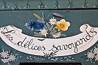 Europe/France/Rhône-Alpes/73/Savoie/Vallée de Belleville/Les Ménuires: Détail meuble peint savoyard à l' Hôtel-Restaurant: L'Ours Blanc, à Reberty