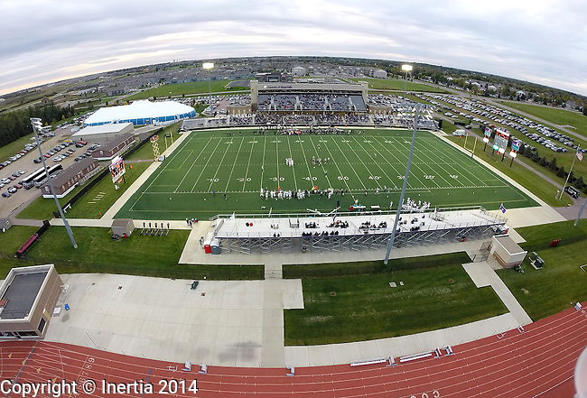 SIOUX FALLS, SD - OCTOBER 4: A birds eye view as The University of Sioux Falls takes on Concordia St. Paul in the first half of their game Saturday evening at Bob Young Field in Sioux Falls. (Photo by Dave Eggen/Inertia)