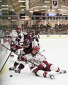 Alexander Kerfoot (Harvard - 14), Darcy Murphy (Colgate - 15), Kyle Criscuolo (Harvard - 11) - The Harvard University Crimson defeated the visiting Colgate University Raiders 7-4 (EN) on Saturday, February 20, 2016, at Bright-Landry Hockey Center in Boston, Massachusetts,