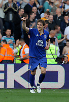 FAO SPORTS PICTURE DESK<br /> Pictured: Nikica Jelavic of Everton celebrating his goal. Saturday, 24 March 2012<br /> Re: Premier League football, Swansea City FC v Everton at the Liberty Stadium, south Wales.