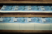 Rio de Janeiro, Brazil. Reais 100/Banco Central do Brasil currency notes just printed.