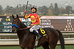ARCADIA, CA  JANUARY 06: #6 McKinzie, ridden by Mike Smith, return to the connections after winning the Sham Stakes (Grade lll) on January 6, 2018, at Santa Anita Park in Arcadia, CA.(Photo by Casey Phillips/ Eclipse Sportswire/ Getty Images)