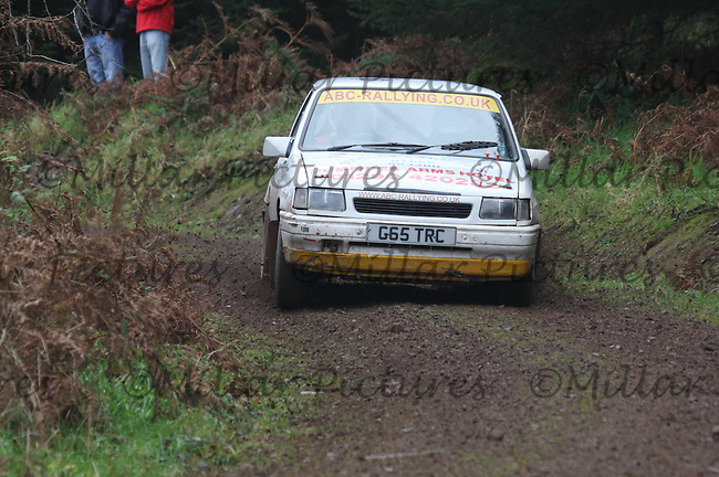 Gordon Alexander / Ian Clark in their Vauxhall Nova near Junction 6 in the R Earsman (Builders & Joiners) Special Stage 3 Dalbeattie of the Armstrong Galloway Hills Rally 2011 based at Castle Douglas on 30.10.11.